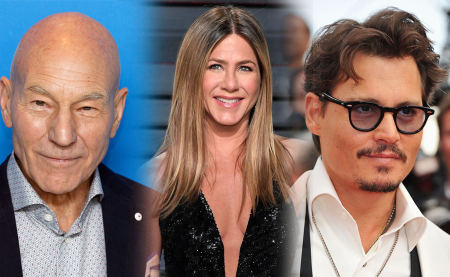 Patrick Stewart, Jennifer Aniston y Johnny Depp